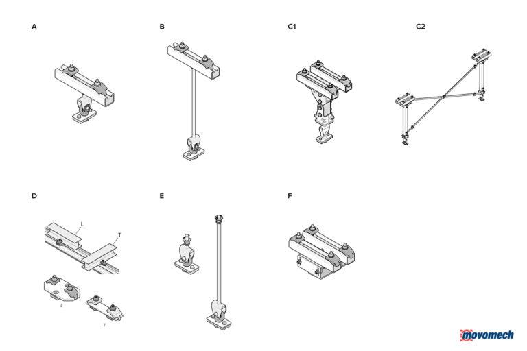 Crane system Mechrail suspensions - upphängningar Movomech